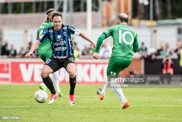 Niklas Busch Thor of IK Sirius FK and Kennedy Bakircioglu of Hammarby IF during the Allsvenskan match between IK Sirius FK and Hammarby IF at...