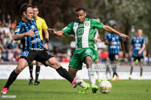 Niklas Busch Thor of IK Sirius FK and SergeJunior Martinsson Ngouali of Hammarby IF during the Allsvenskan match between IK Sirius FK and Hammarby IF...