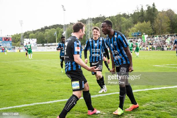 Niklas Busch Thor of IK Sirius FK celebrates after scoring 10 during the Allsvenskan match between IK Sirius FK and Hammarby IF at Studenternas IP on...