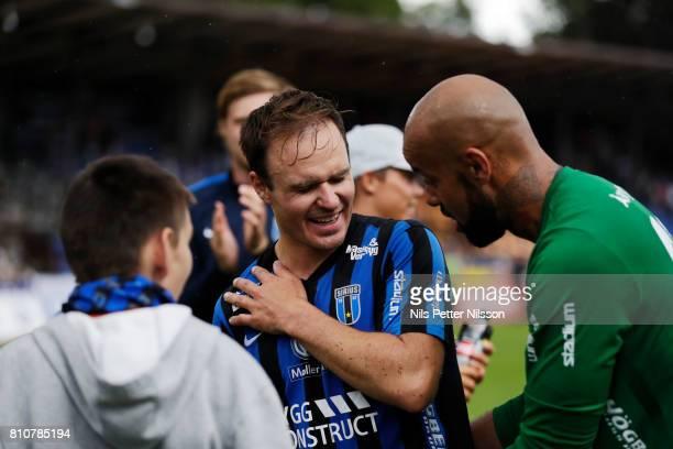 Niklas Busch Thor of IK Sirius FK injured in his shoulder during the Allsvenskan match between IK Sirius FK and Athletic FC Eskilstuna at...