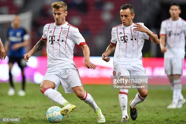 Niklas Dorsch and Rafinha of FC Bayern Muenchen during the International Champions Cup match between FC Bayern Munich and FC Internazionale at...