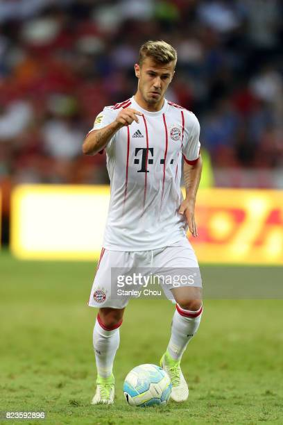 Niklas Dorsch of FC Bayern dribbles the ball during the International Champions Cup match between FC Bayern and FC Internazionale at the National...