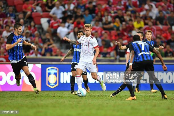 Niklas Dorsch of FC Bayern Muenchen runs with the ball during the International Champions Cup match between FC Bayern Munich and FC Internazionale at...