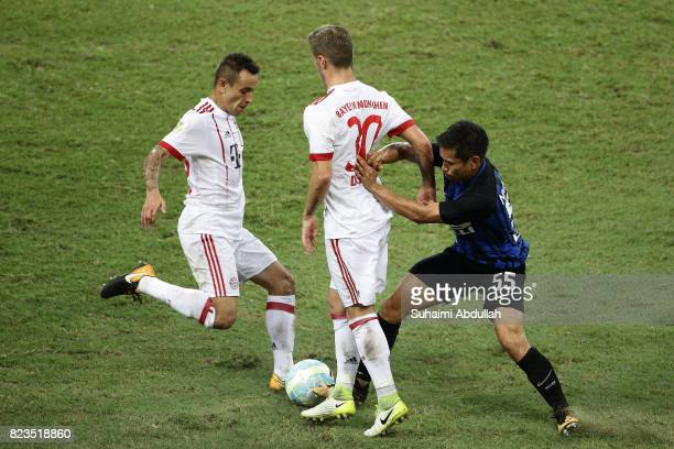 Niklas Dorsch of FC Bayern Munich blocks Yuto Nagatomo of FC Internazionale during the International Champions Cup match between FC Bayern and FC...