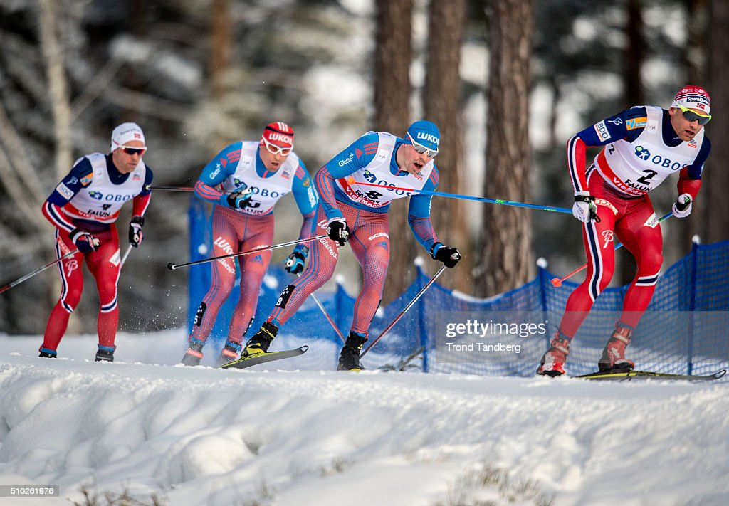 Niklas Dyrhaug of Norway, Sergey Ustiugov of Russia, <a gi-track='captionPersonalityLinkClicked' href=/galleries/search?phrase=Alexander+Legkov&family=editorial&specificpeople=4037875 ng-click='$event.stopPropagation()'>Alexander Legkov</a> of Russia, Diderik Toenseth of Norway during Cross Country Men 15.0 km Mass Start Free on February 14, 2016 in Falun, Sweden.