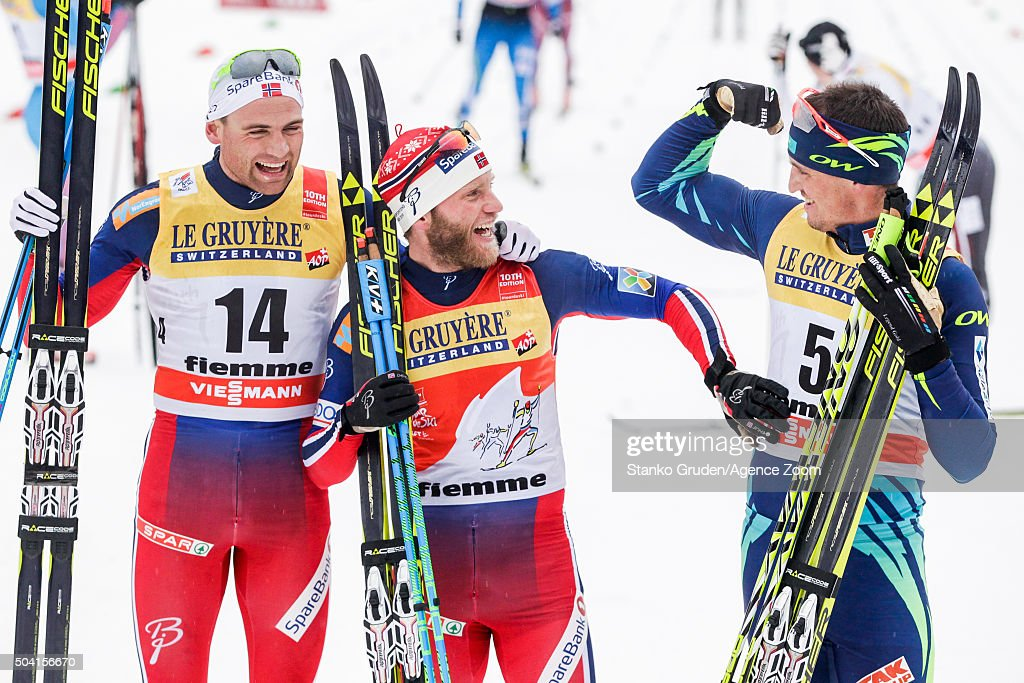Niklas Dyrhaug of Norway takes 2nd place,<a gi-track='captionPersonalityLinkClicked' href=/galleries/search?phrase=Martin+Johnsrud+Sundby&family=editorial&specificpeople=4668146 ng-click='$event.stopPropagation()'>Martin Johnsrud Sundby</a> of Norway takes 1st place,<a gi-track='captionPersonalityLinkClicked' href=/galleries/search?phrase=Alexey+Poltoranin&family=editorial&specificpeople=4131263 ng-click='$event.stopPropagation()'>Alexey Poltoranin</a> of Kazakstan takes 3rd place during the FIS Nordic World Cup Men's and Women's Cross Country Tour de Ski on January 9, 2016 in Val di Fiemme, Italy.