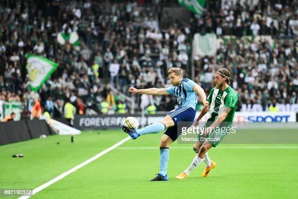 Niklas Gunnarsson of Djurgardens IF and Bjørn Paulsen of Hammarby IF during the Allsvenskan match between Hammarby IF and Djurgardens IF at Tele2...