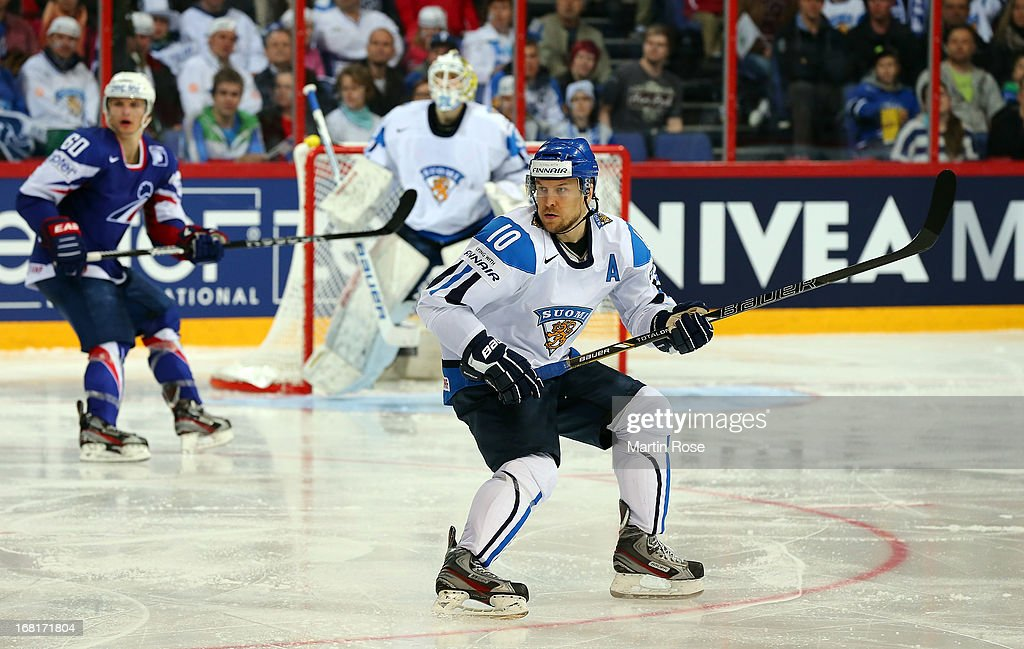 <a gi-track='captionPersonalityLinkClicked' href=/galleries/search?phrase=Niklas+Hagman&family=editorial&specificpeople=203179 ng-click='$event.stopPropagation()'>Niklas Hagman</a> of Finland skates up the ice during the IIHF World Championship group H match between Finland and France at Hartwall Areena on May 6, 2013 in Helsinki, Finland.
