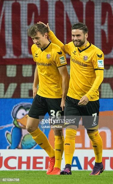 Niklas Hauptmann of Dresden celebrates his first goal with Niklas Kreuzer of Dresden during the Second Bundesliga match between Fortuna Duesseldorf...