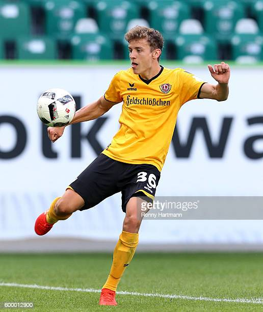 Niklas Hauptmann of Dresden controls the ball during the friendly match between VfL Wolfsburg and Dynamo Dresden at Volkswagen Arena on September 2...