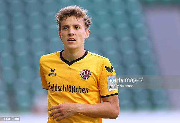 Niklas Hauptmann of Dresden looks on during the friendly match between VfL Wolfsburg and Dynamo Dresden at Volkswagen Arena on September 2 2016 in...
