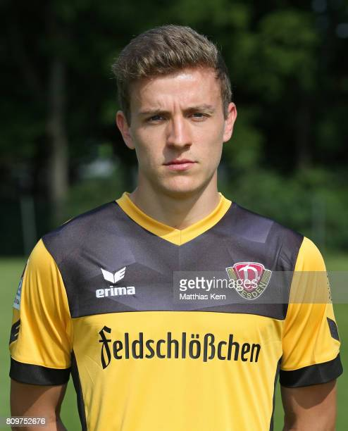 Niklas Hauptmann of Dresden poses during the SG Dynamo Dresden team presentation on July 6 2017 in Dresden Germany