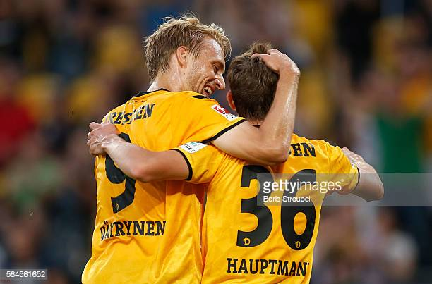 Niklas Hauptmann of Dynamo Dresden celebrates after scoring his team's first goal with team mate Tim Vayrynen during the Bundeswehr Karriere Cup...