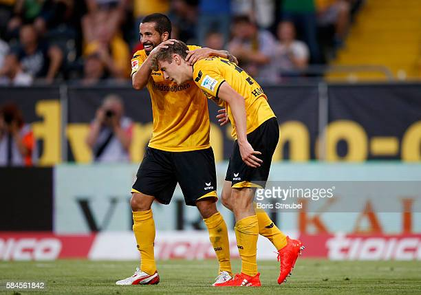 Niklas Hauptmann of Dynamo Dresden celebrates after scoring his team's first goal with team mate Nils Teixeira during the Bundeswehr Karriere Cup...