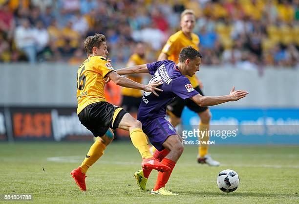 Niklas Hauptmann of Dynamo Dresden challenges Maximilian Eggestein of Werder Bremen during the Bundeswehr Karriere Cup Dresden 2016 match between...