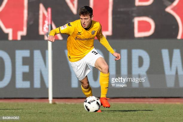 Niklas Hauptmann of Dynamo Dresden in action during the Second Bundesliga match between 1 FC Nuernberg and SG Dynamo Dresden at Arena Nuernberg on...