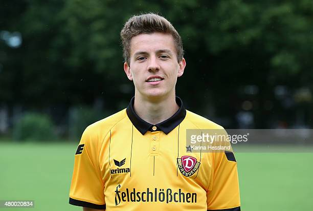 Niklas Hauptmann poses during the official team presentation of Dynamo Dresden at the GluecksgasStadion on July 9 2015 in Dresden Germany on July 9...