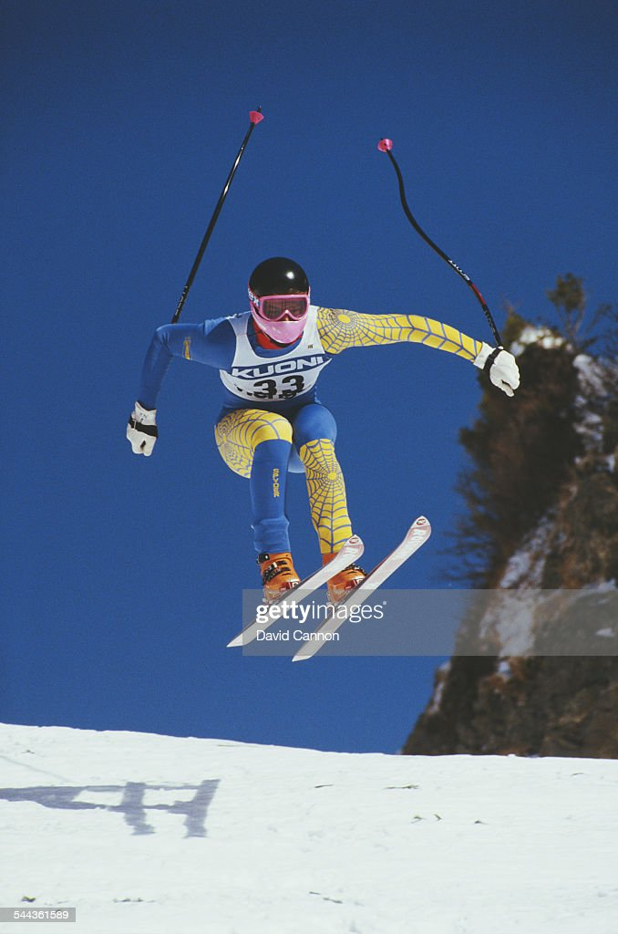 Niklas Henning of Sweden during the International Ski Federation Men's downhill at the Alpine Skiing World Cup event on 17 January 1987 in...