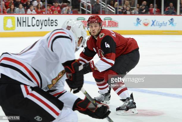Niklas Hjalmarsson of the Arizona Coyotes backs into his own zone while watching the puck against the Chicago Blackhawks at Gila River Arena on...