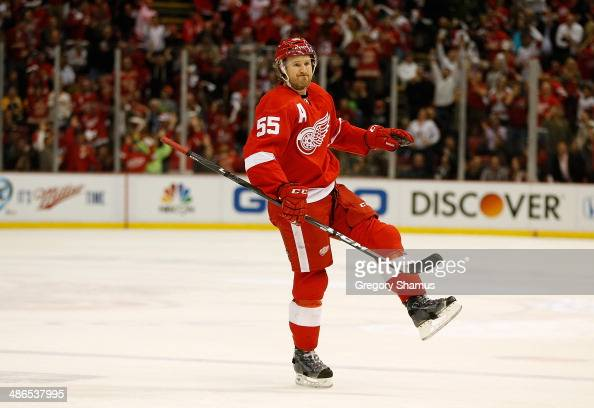 Niklas Kronwall of the Detroit Red Wings celebrates his firstperiod goal while playing the Boston Bruins in Game Four of the First Round of the 2014...