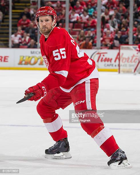 Niklas Kronwall of the Detroit Red Wings follows the play during an NHL game against the Columbus Blue Jackets at Joe Louis Arena on February 23 2016...