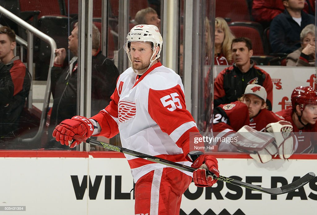 Niklas Kronwall of the Detroit Red Wings gets ready during a faceoff against the Arizona Coyotes at Gila River Arena on January 14 2016 in Glendale...