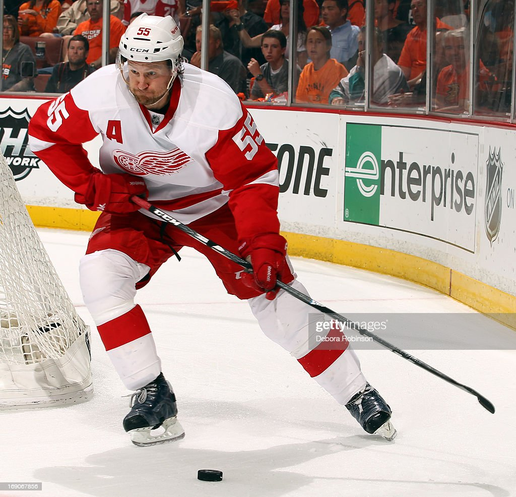 <a gi-track='captionPersonalityLinkClicked' href=/galleries/search?phrase=Niklas+Kronwall&family=editorial&specificpeople=220826 ng-click='$event.stopPropagation()'>Niklas Kronwall</a> #55 of the Detroit Red Wings handles the puck during the game against the Anaheim Ducks in Game Seven of the Western Conference Quarterfinals during the 2013 NHL Stanley Cup Playoffs at Honda Center on May 12, 2013 in Anaheim, California.