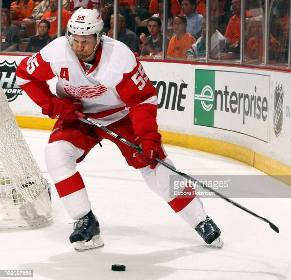 Niklas Kronwall of the Detroit Red Wings handles the puck during the game against the Anaheim Ducks in Game Seven of the Western Conference...