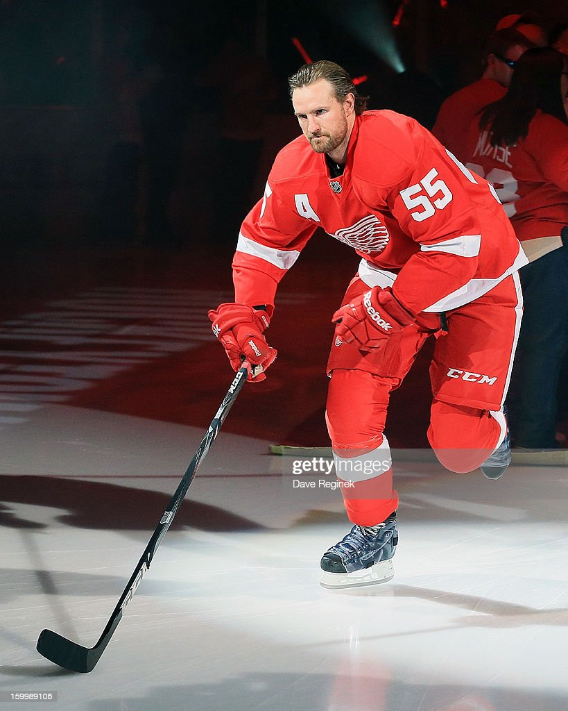 Niklas Kronwall #55 of the Detroit Red Wings is introduced in pre-game ceramonies before an NHL game against the Dallas Stars at Joe Louis Arena on January 22, 2013 in Detroit, Michigan. Dallas won 2-1