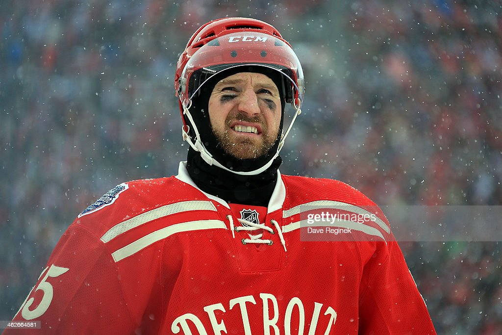 Niklas Kronwall of the Detroit Red Wings looks down the ice against the Toronto Maple Leafs during the Bridgestone NHL Winter Classic on January 1...
