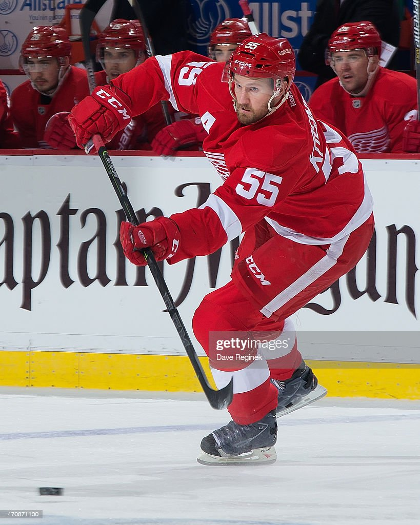 Niklas Kronwall of the Detroit Red Wings passes the puck against the Tampa Bay Lightning in Game Three of the Eastern Conference Quarterfinals during...