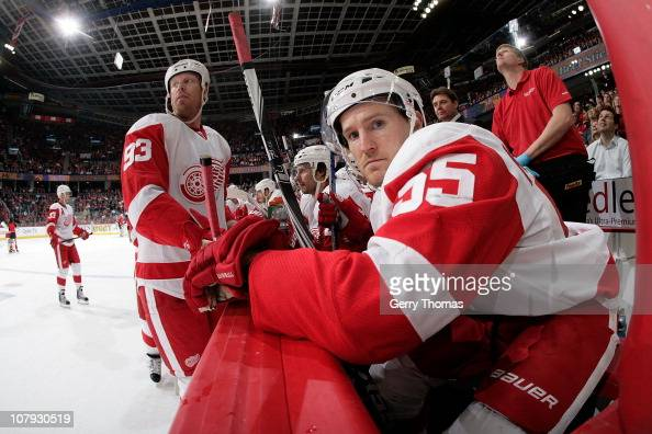 Niklas Kronwall of the Detroit Red Wings sits on the bench during a stoppage in play against the Calgary Flames on January 07 2011 at the Scotiabank...