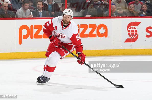 Niklas Kronwall of the Detroit Red Wings skates against the Ottawa Senators at Canadian Tire Centre on November 16 2015 in Ottawa Ontario Canada