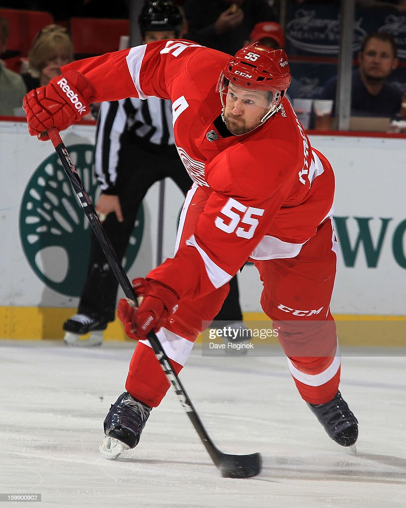 <a gi-track='captionPersonalityLinkClicked' href=/galleries/search?phrase=Niklas+Kronwall&family=editorial&specificpeople=220826 ng-click='$event.stopPropagation()'>Niklas Kronwall</a> #55 of the Detroit Red Wings takes a slap shot during a NHL game against the Dallas Stars at Joe Louis Arena on January 22, 2013 in Detroit, Michigan.