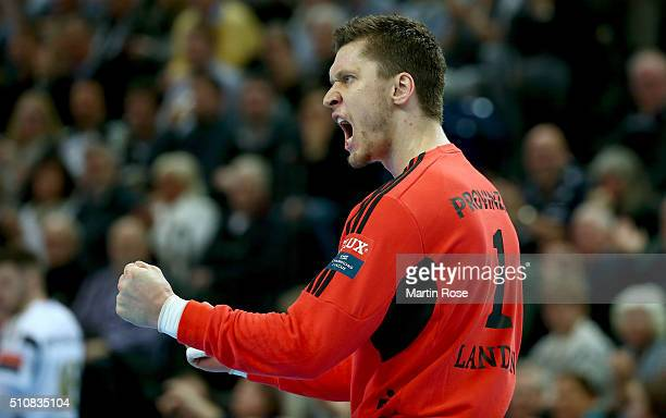 Niklas Landin goalkeeper of Kiel celebrates during the VELUX EHF Champions League group A between THW Kiel and Orlen Wisla Plock at Sparkassen Arena...