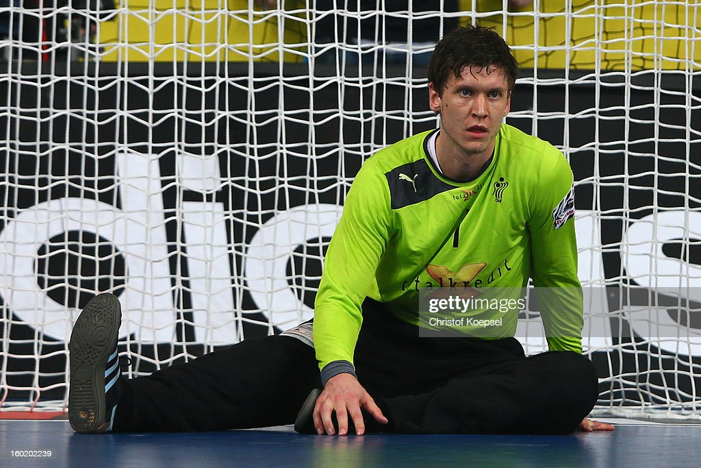 Niklas Landin of Denmark looks dejected during the Men's Handball World Championship 2013 final match between Spain and Denmark at Palau Sant Jordi on January 27, 2013 in Barcelona, Spain.