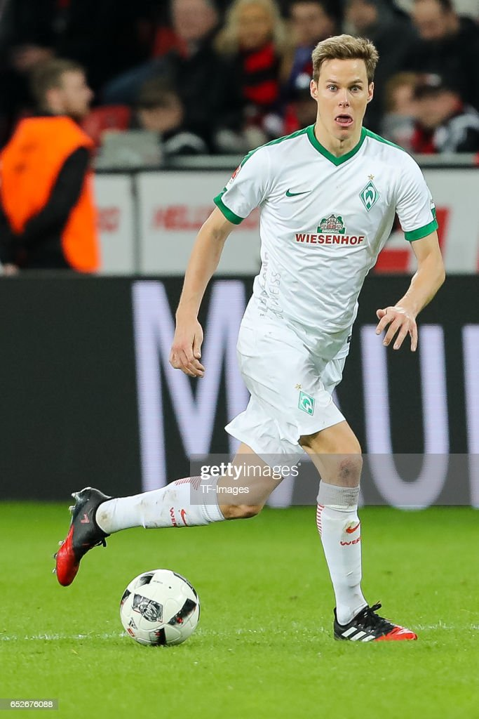 Niklas Moisander of Werder Bremen controls the ball during the Bundesliga soccer match between Bayer Leverkusen and Werder Bremen at the BayArena stadium in Leverkusen, Germany on March 10, 2017.