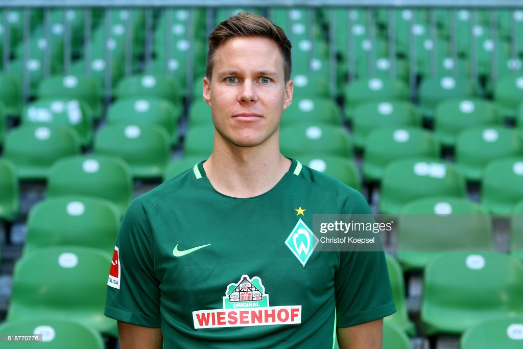 Niklas Moisander of Werder Bremen poses during the team presentation at Weser Stadium on July 19, 2017 in Bremen, Germany.