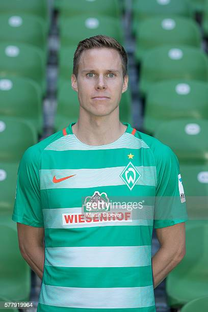 Niklas Moisander poses during the offical team presentation of Werder Bremen on July 20 2016 in Bremen Germany