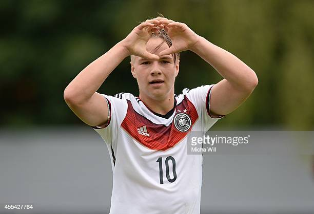 Niklas Schmidt of Germany celebrates after scoring his team's second goal during the KOMM MIT tournament match between U17 Germany and U17 Israel on...