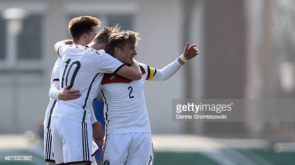 Niklas Schmidt of Germany celebrates as he scores the third goal during the UEFA Under 17 Elite Round match between Germany and Ukraine at...
