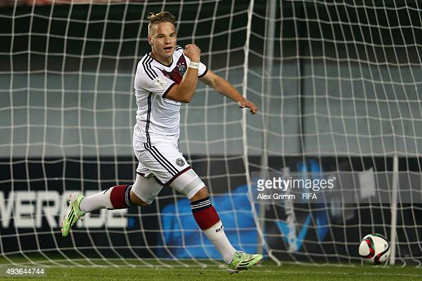 Niklas Schmidt of Germany celebrates his team's fourth goal during the FIFA U17 World Cup Chile 2015 Group C match between Argentina and Germany at...