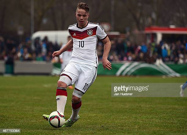 Niklas Schmidt of Germany controles the ball during the UEFA Under17 Elite Round match between U17 Italy and U17 Germany on March 26 2015 in Wetzlar...