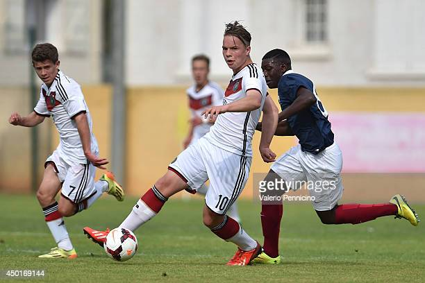 Niklas Schmidt of Germany controls the ball during the International Friendly match between U16 France and U16 Germany at Stade Perruc on June 4 2014...
