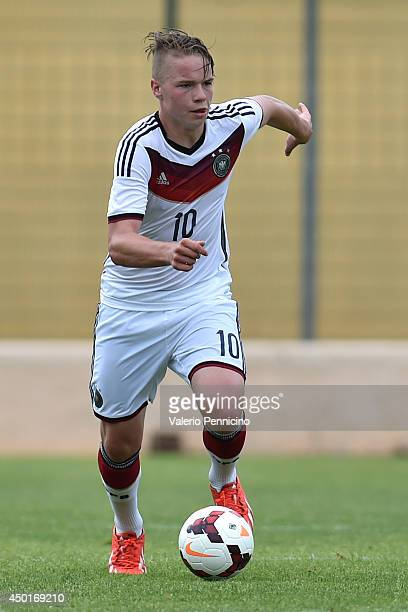 Niklas Schmidt of Germany in action during the International Friendly match between U16 France and U16 Germany at Stade Perruc on June 4 2014 in...