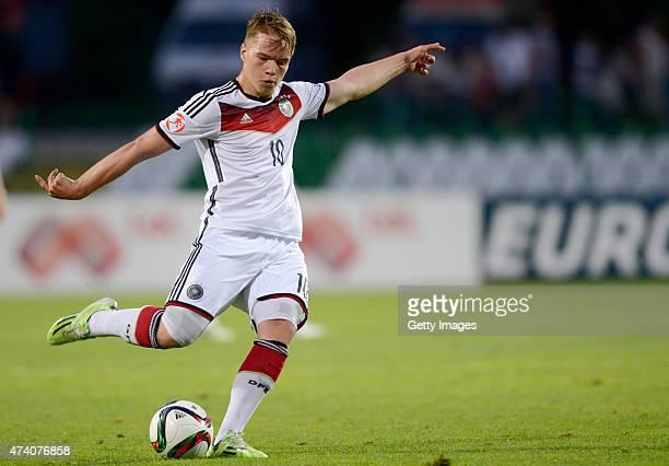 Niklas Schmidt of Germany U17 in action during the UEFA European Under17 Championship Semi Final match between Germany U17 and Russia U17 at Beroe...