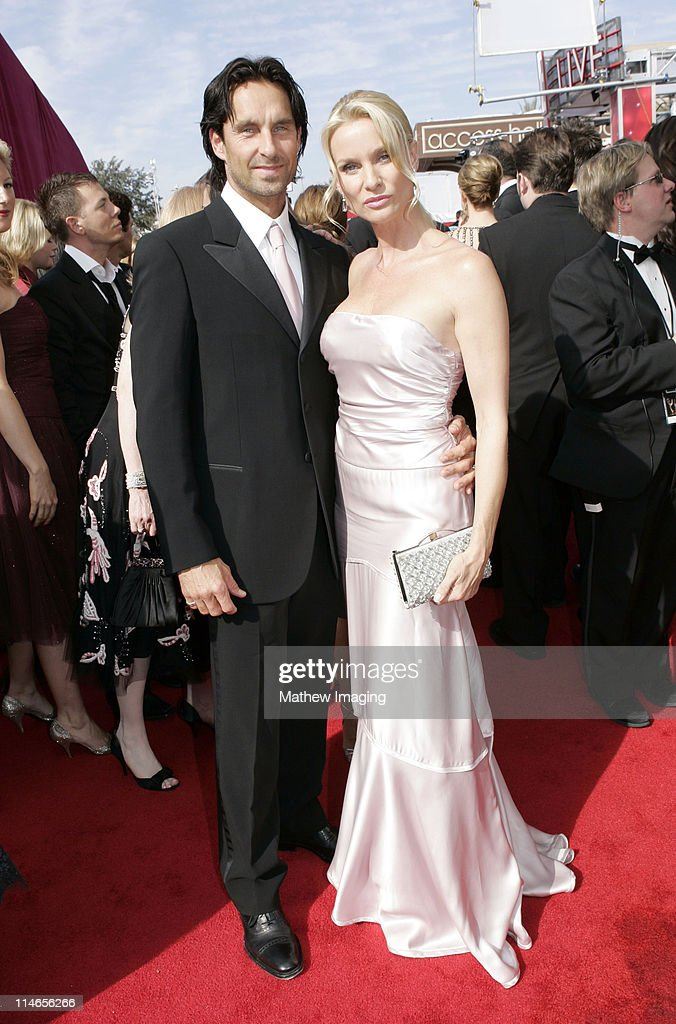 Niklas Soderblom and Nicollette Sheridan during 57th Annual Primetime Emmy Awards Red Carpet at The Shrine in Los Angeles California United States