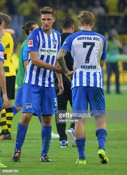 Niklas Stark and Alexander Esswein of Hertha BSC after the game between Borussia Dortmund and Hertha BSC on august 26 2017 in Dortmund Germany
