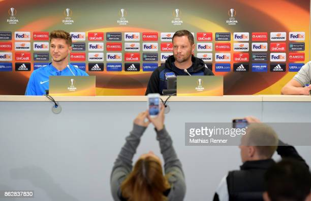 Niklas Stark and coach Pal Dardai of Hertha BSC during the press conference before the training on october 18 2017 in Luhansk Ukraine