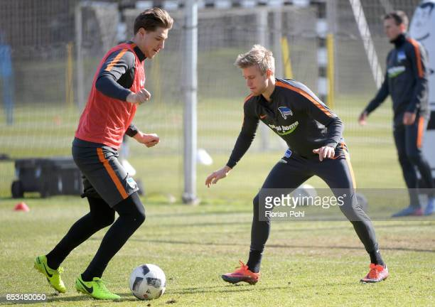 Niklas Stark and Per Skjelbred of Hertha BSC during the training on march 15 2017 in Berlin Germany